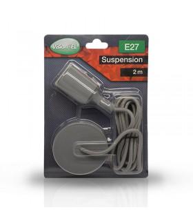 Suspension câble 2m E27 gris 5002 3760173783588