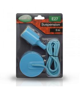 Suspension câble 2m E27 bleu 5005 3760173783618
