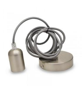 Suspension E27 brosse nickel avec cable 2m 5011 3701124407849