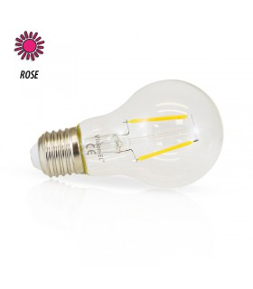 Ampoule LED bulbe rose E27 2W 230 Vac 71385 3701124407542